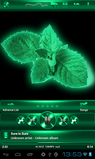 Poweramp skin SPEARMINT METAL