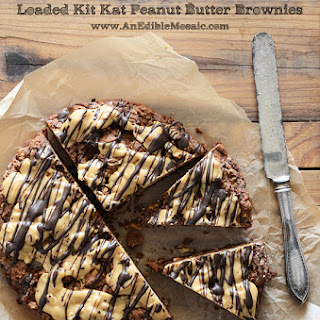 Loaded Kit Kat Peanut Butter Brownies.