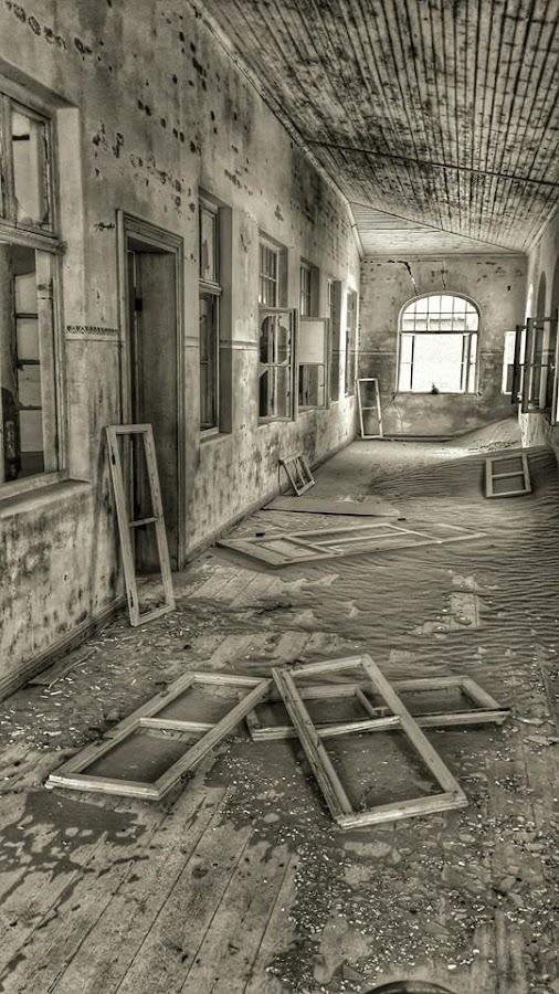 Fallen Windows by Rick Venter - Black & White Buildings & Architecture
