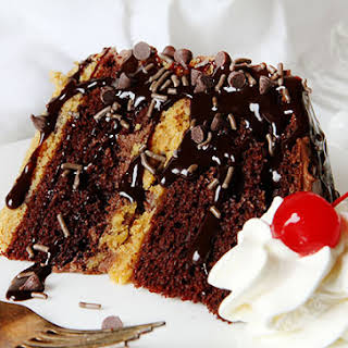 Chocolate Layer Cake With Chocolate Chip Cookie Layers.