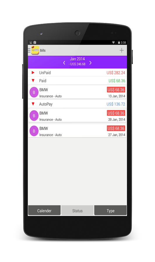 myBills with sync - screenshot