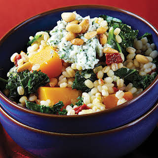 Barley Risotto with Roasted Butternut Squash & Kale.