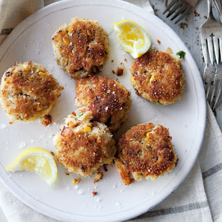 Crab and Corn Cakes with Sweet and Spicy Dipping Sauce.