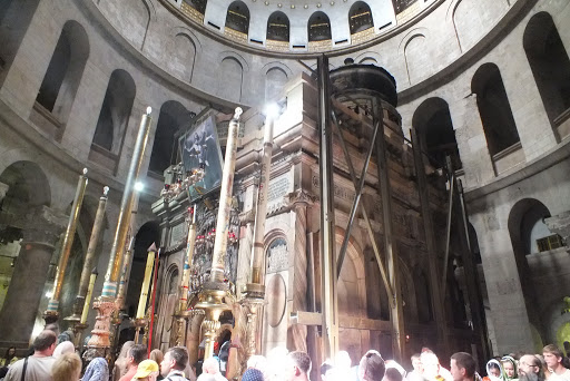 rotunda-church-holy-sepulchre-Jerusalem - The rotunda of the Basilica of the Holy Sepulchre, or the Church of the Resurrection, in Jerusalem.