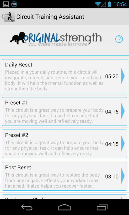 Circuit Training Assistant - screenshot