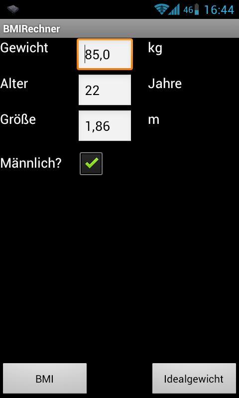 BMI Rechner- screenshot