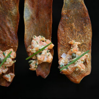 Salmon Tartare on Potato Crisps.