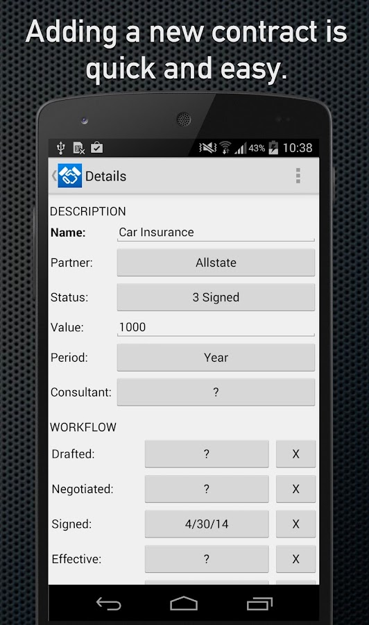 Contracts and Subscriptions- screenshot