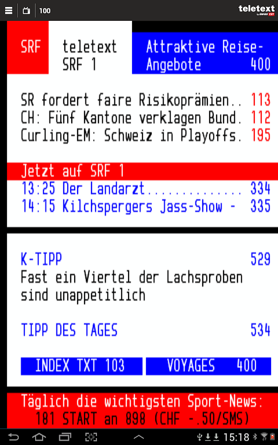 TELETEXT (mobile Website)- screenshot