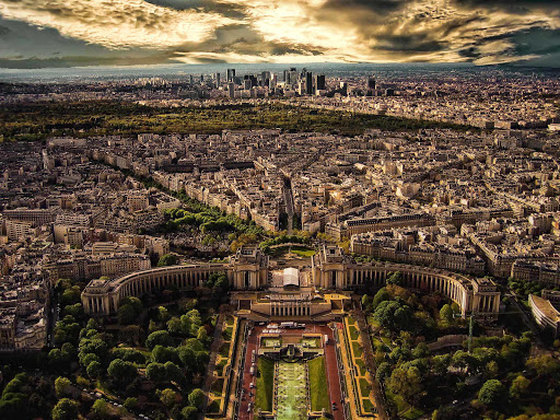 A spectacular aerial view of Paris.