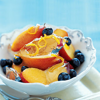 Prosecco Jelly with Nectarines, Blueberries, and Candied Orange Peel