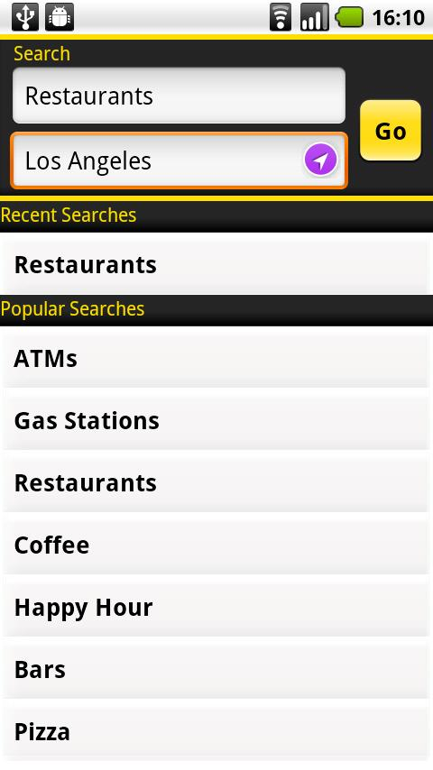 Yellow Pages for Android- screenshot