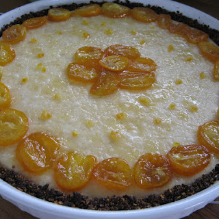 Cheesecake with Fig crust and Kumquat Glazed topping