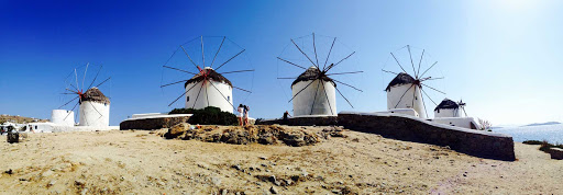 Iconic windmills in Mykonos, Greece.