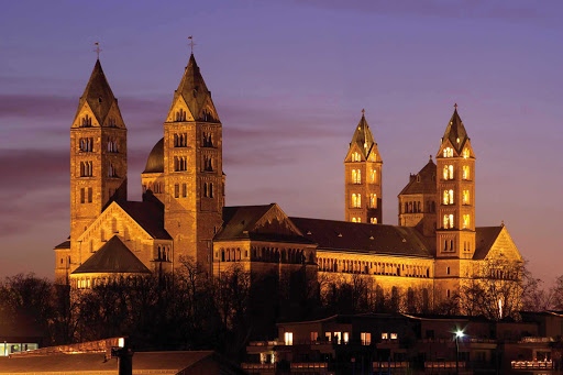 Germany-cathedral-St-Mary-Speyer - The Imperial Cathedral of St. Mary — officially the Imperial Cathedral Basilica of the Assumption and St. Stephen — at dusk in Speyer, Germany. Construction began in 1030 and was mostly completed in the 12th century. It's a UNESCO World Heritage Site.