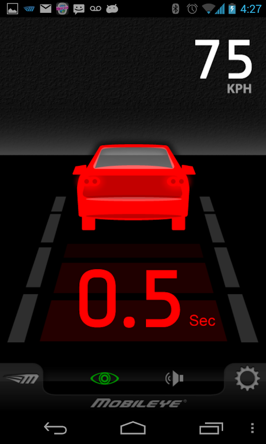 Mobileye 5 - Series pro app- screenshot