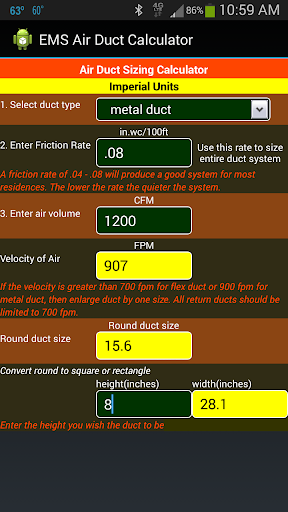 Air duct sizing calculator