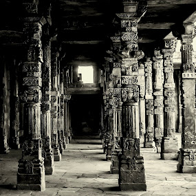 Pillars 2 by Ravi Prakash - Black & White Buildings & Architecture ( symmetrical, qutab, india, architecture, pillars, delhi,  )