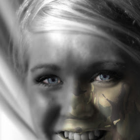 My day job is??? by Brian Miller - Digital Art People ( canon, camo, girl, blue, military )