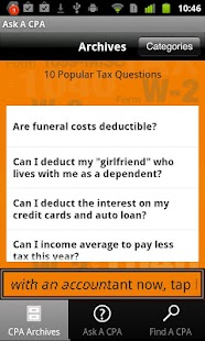 Ask A CPA Tax Answers Free - screenshot thumbnail