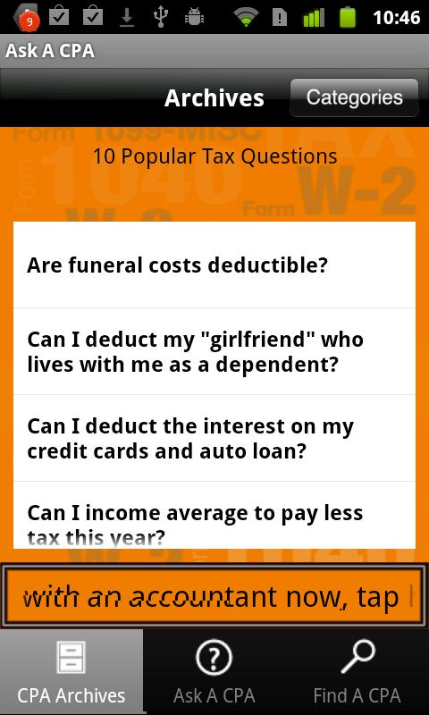 Ask A CPA Tax Answers Free - screenshot