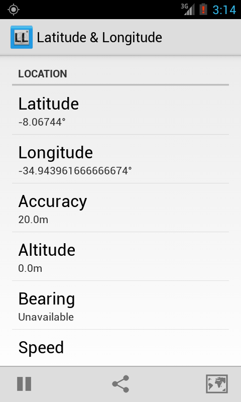 Latitude Longitude Coordinates - screenshot