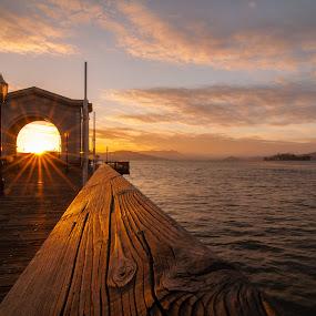 Sunset at Fishermens Wharf, San Francisco Bay (island = Alcatraz) by Johannes Schaffert - City,  Street & Park  Historic Districts ( water, san francisco bay, california, sunset, pier, alcatraz, west coast, travel, usa, san francisco )