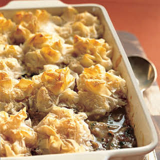 Chicken and Mushroom Pie with Phyllo-Parmesan Crust.