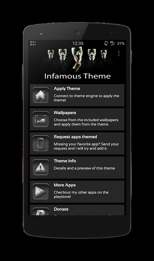 Infamous CM11 Theme Free - screenshot