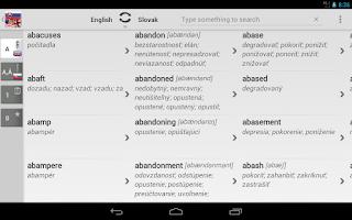Screenshot of Free Dict Slovak English