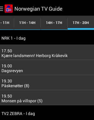 Norwegian TV Guide- screenshot