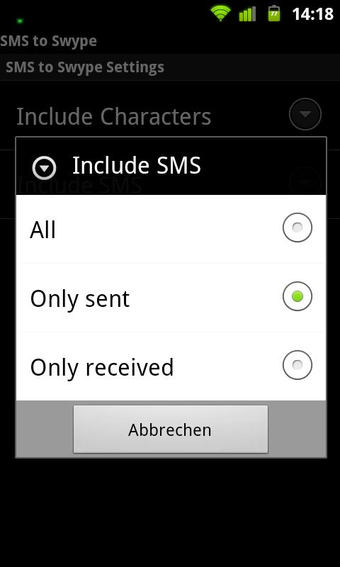 SMS to Swype - screenshot