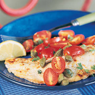 Snapper with Tomato-Caper Topping.