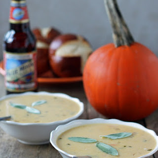 Pumpkin Ale Beer Cheese Soup with Sharp Cheddar and Gruyere