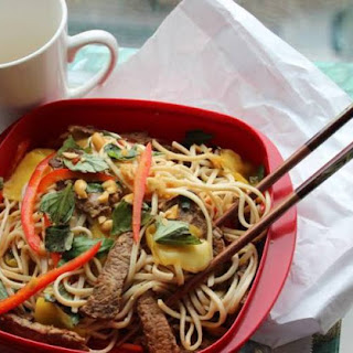 Spicy Noodle Bowl with Beef and Mango.