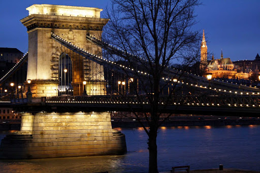 The Chain Bridge over the Danube River in  Budapest, Hungary.