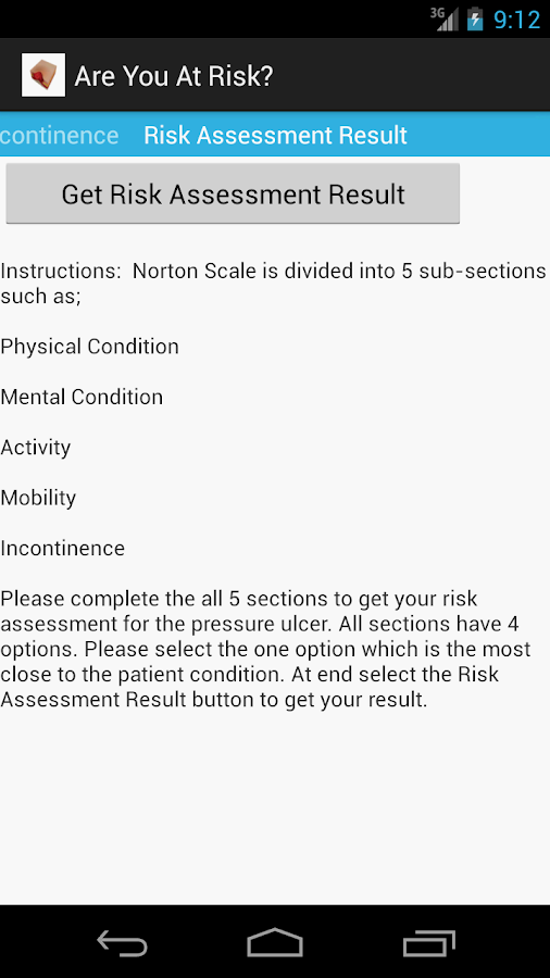 Norton Scale 4 Pressure Ulcer- screenshot