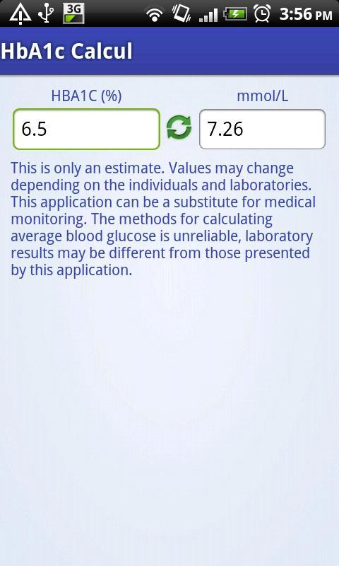 HbA1c Calc- screenshot