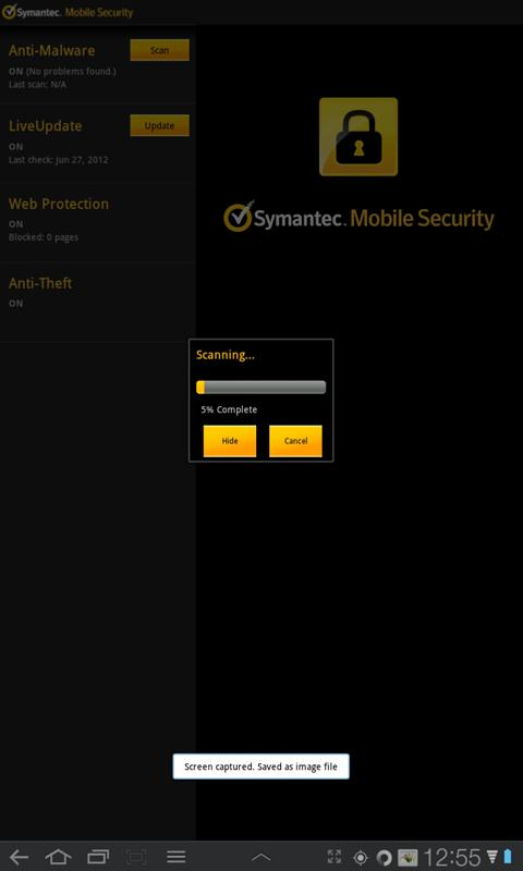 Symantec Mobile Security Agent- screenshot