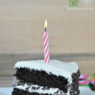 Dark Chocolate Cake with Vanilla Frosting