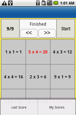 one digit multiplication- screenshot