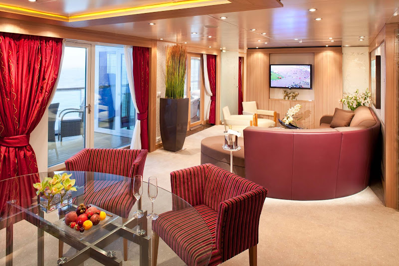The Wintergarden Suite has a private glassed-in Solarium with a soaking tub and a lounging bed. It also features a veranda with wonderful views of the side of the ship.