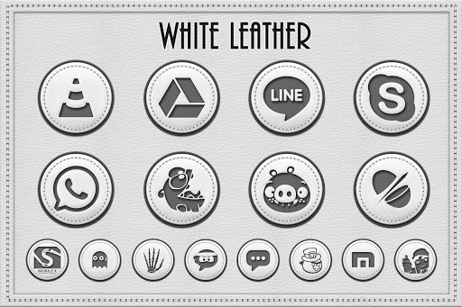 White Leather Icon Pack Theme v1.4.0