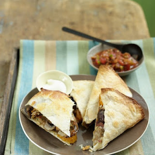 Quesadillas with Chicken Sausage and Roasted Vegetables.
