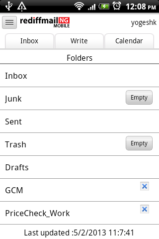Rediffmail NG - screenshot