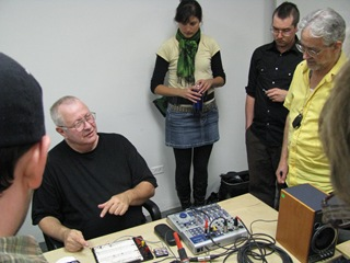 Normand demonstrating the microphone circuit