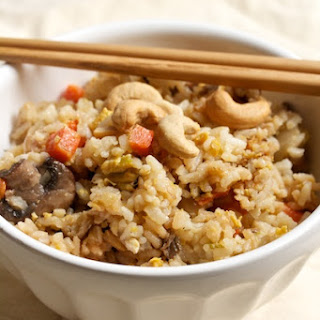 Vegetarian Fried Rice with Shiitakes and Cashews.