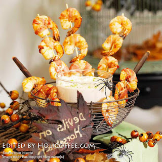 Marinated Shrimp Bacon Skewer – Make Easy Halloween Appetizer
