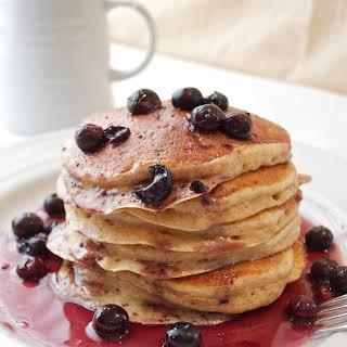 Greek Yogurt Pancakes with Blueberry Maple Syrup.