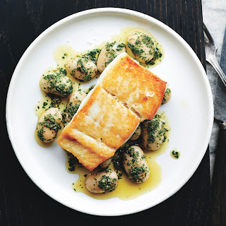 Pan-Roasted Halibut with Herbed Corona Beans.